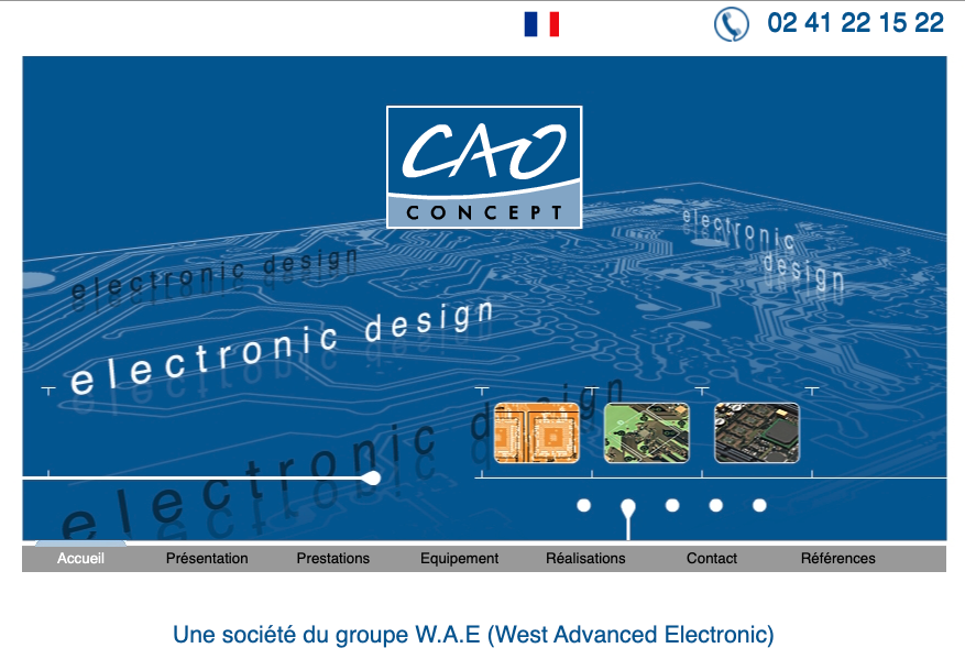Vue d'écran de l'ancienne page d'accueil du site internet de CAO Concept