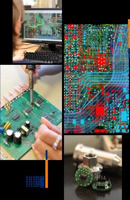 Vue de 4 photos illustration l'offre de prestations et prudction de CAO Concept dans le domaine de l'électronique industriel